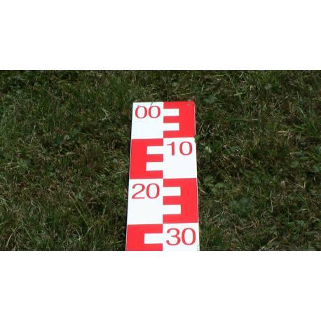 Vodočetná (limnigrafická) lať NESTLE, délka 1m, červená, 99-00.