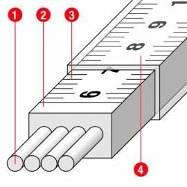 """Měřické pásmo plastové se skleněným vláknem, délka 15m, koncovka """"B"""""""